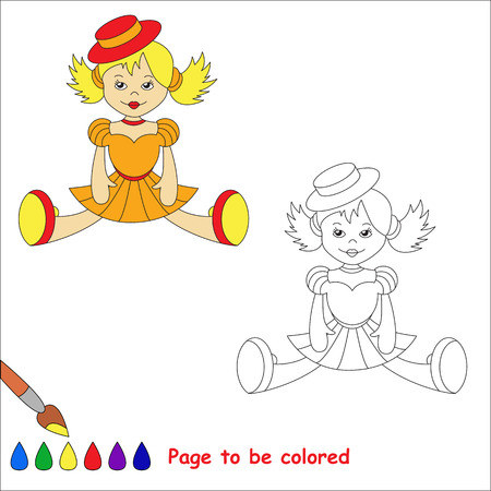 orange dress: Blonde toy doll in orange dress and red hat. Kid game. Coloring book. Page to be color. For children playing.