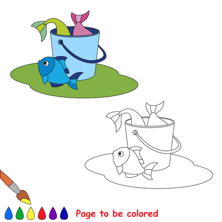 summer game: Great catch of fish.  Bucketful, bucket, pail with good fish haul. Kid summer game. Coloring book. Page to be color.  Summer outdoor games for children.