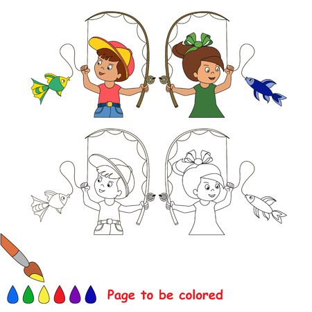 childen: Two cartoon baby - boy and girl - catch fish. Fisherman and fisherwoman. Coloring book for childen. Page to be color for kid playing. Summer hobby.