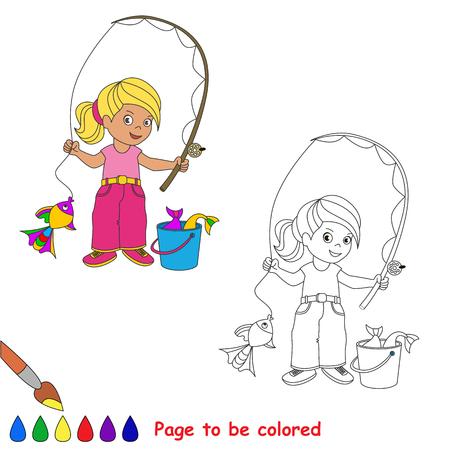 한 만화 아기 피셔 소녀 캐치 물고기. 자식들을위한 색칠하기 책. 페이지 아이 재생을위한 색상 수 있습니다. 여름 취미.
