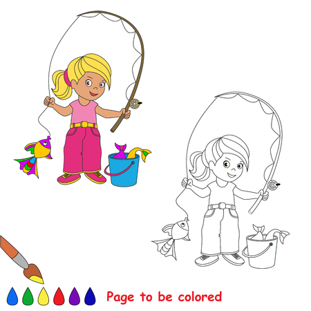 fisher: One cartoon baby fisher girl catch fish. Coloring book for childen. Page to be color for kid playing. Summer hobby.