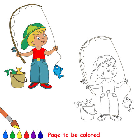 fisher man: Young fisherman in cap caught fish with rod. Cartoon character. Kid summer game. Coloring book. Page to be color.  Outdoor games for children.