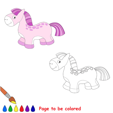 baby playing toy: Baby toy horse. Girl pink equine. Kid game. Coloring book. Task to be color. For children playing. Illustration