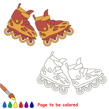 mishmash: Roller skates. Kid game. Coloring book. Page to be color. For children playing.