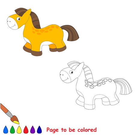baby playing toy: Baby toy horse. Kid game. Coloring book. Task to be color. For children playing. Illustration