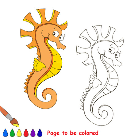 Orange seahorse. Kid game. Coloring book. Page to be color. For children play.