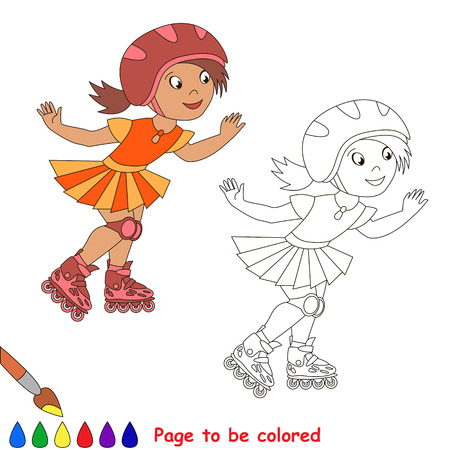 sportsmen: One child girl roller skating in a red helmet and orange dress. Page to be color. Summer outdoor games for children. Kids summer sport.