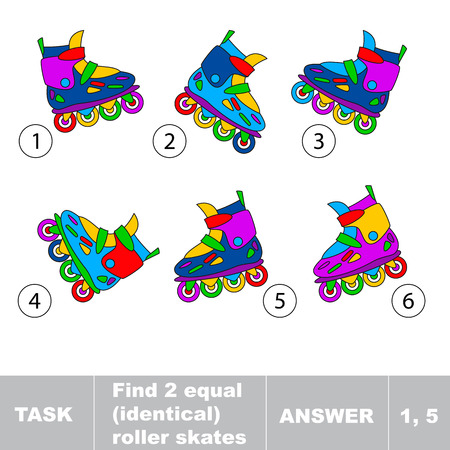 skating: Kid game. Find two equal identical roller skates. Task and answer. Kid game for children. Find hidden object. Compare and find same objects.