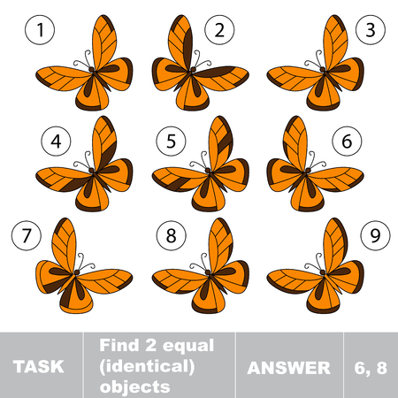 identical: Find two equal identical butterflies . Task and answer. Kid game for children. Find hidden object.