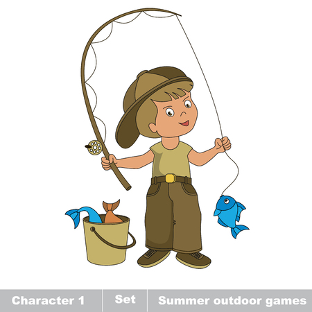 One young fisherman in cap with rod caught fish. Cartoon character baby boy . Summer kids outdoor hobby games for children. Summer outdoor games for children. Kids summer games. Illustration