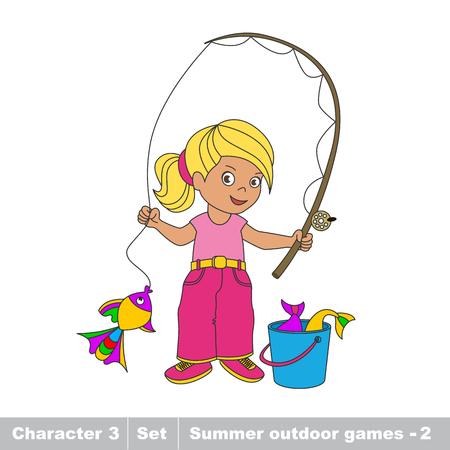 summer game: One cartoon baby fisher girl. Fisherwoman catch fish using . Kid summer game for children. Illustration