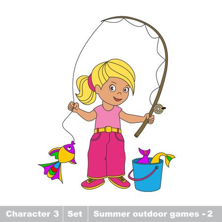 Un bébé de dessin animé pêcheur fille. Attraper des poissons à l'aide-pêcheur. Jeu de l'été Kid pour les enfants.