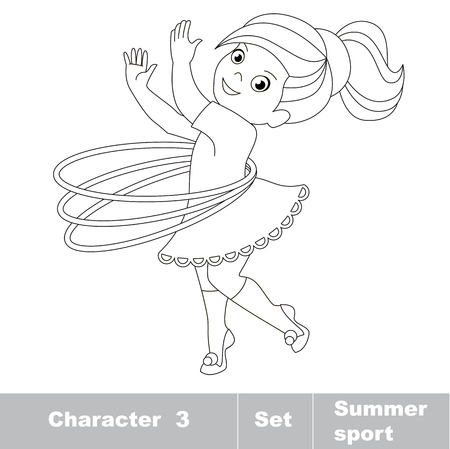 hulahoop: Page to be color. One baby girl turns the Hoop. Summer outdoor games for children. Kids summer sport.
