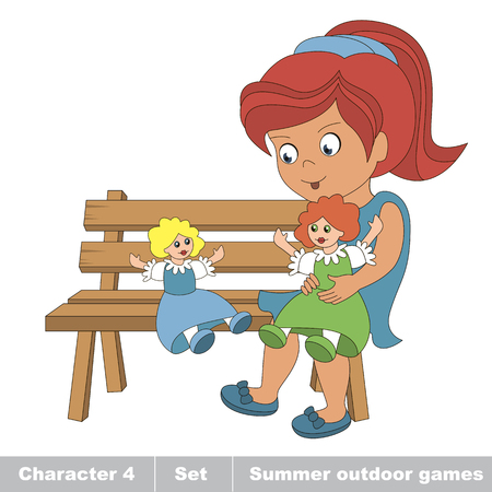 baby playing toy: One young red hair girl in blue dress play with her toy doll on the bench. Cartoon character playing baby. Summer outdoor hobby games for children. Kids summer games.