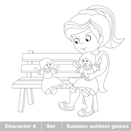 Page to be color. One little girl in blue dress play with her toy doll on the bench. Cartoon character playing baby. Summer outdoor hobby games for children. Kids summer games.