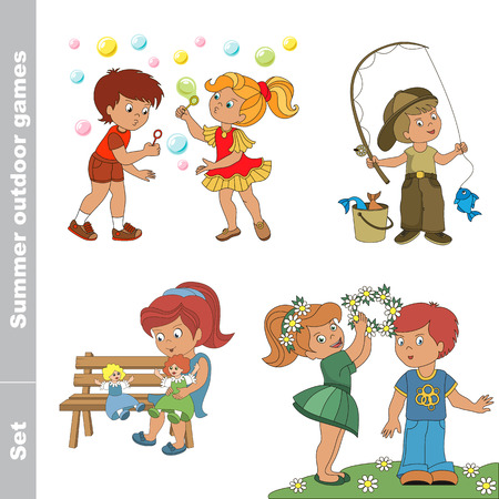 wreath set: Cartoon character kid set. Summer outdoor hobby games for children. One young fisherman in cap with rod caught fish.  Little baby girl wears boy friend wreath of flowers.  Two children walk in the forest. One young red hair girl in blue dress play with he Illustration