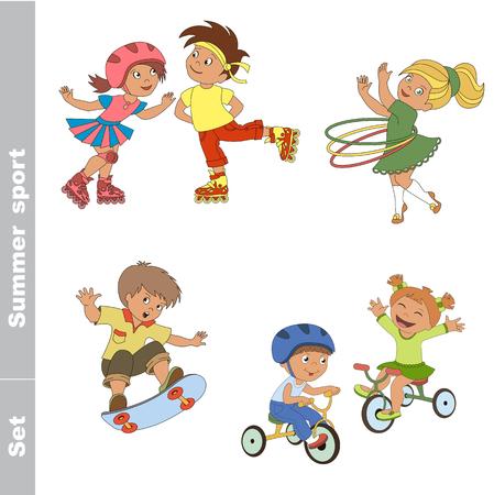 Kid summer sport set. Children outdoor games. Baby summer sport. Boy and girl skating on roller skates. Boy and girl ride a bike. Skateboarding. One baby boy skater on skate. Girl turns the Hoop.