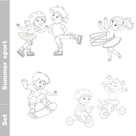 boy skater: Page to be color. Kid summer sport set. Children outdoor games. Baby summer sport. Boy and girl skating on roller skates. Boy and girl ride a bike. Skateboarding. One baby boy skater on skate. Girl turns the Hoop.