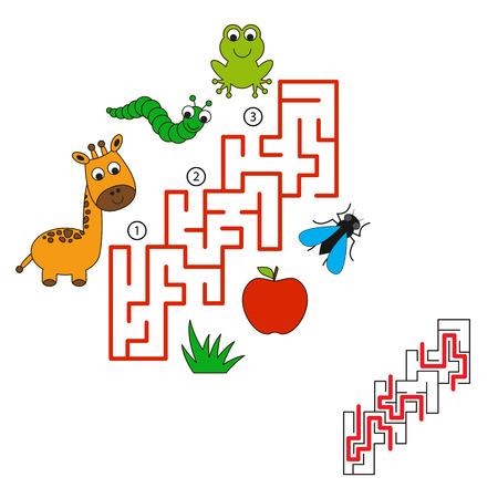 laberinto: Encuentra manera correcta escondido. Tarea y respuesta. Juego para los ni�os. Buscar y elegir camino correcto.
