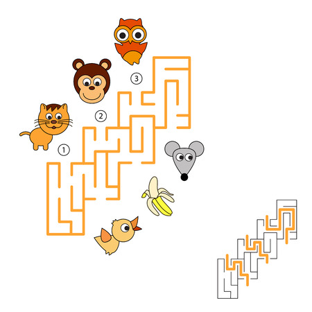 brain mysteries: Task and answer. Game for children. Search and choose correct path. Find hidden right way. Illustration