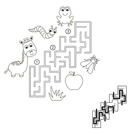 right path: Find hidden right way. Task and answer. Game for children. Search and choose correct path.