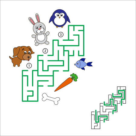 hide and seek: Find hidden right way. Task and answer. Maze game for children. Search and choose correct path. Illustration