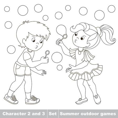 inflar: P�gina a ser color. Peque�o ni�o y amiga jugando en las pompas de jab�n jard�n inflar. Burbujas volar los dos ni�os se divierten. Personaje de dibujos animados jugando beb�. Verano juegos al aire libre. Libro de colorear. Ni�os jugando verano. Vectores