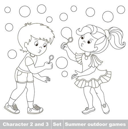black boys: Page to be color. Small baby boy and girl friend playing in the yard inflate soap bubbles. Bubbles fly the two children have fun.  Cartoon character playing baby. Summer outdoor games . Coloring book. Kids summer playing.