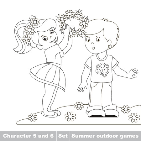 boy friend: Page to be color. Little baby girl wears boy friend wreath garland of flowers. Two children walk in the forest. Childrens summer play in the park. Summer outdoor hobby games for children. Kids summer games.