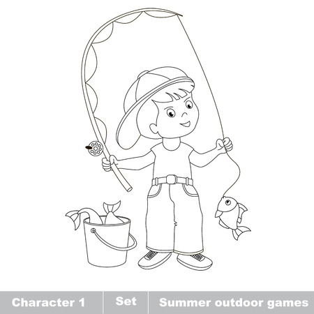 one boy: One boy - young fisherman in cap caught fish with rod. Cartoon character play baby boy . Kid summer game. Coloring book. Page to be color.  Summer outdoor games for children.