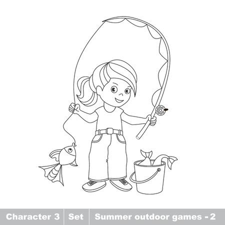 One cartoon baby fisher girl. Fisherwoman catch fish using . Kid summer game for children. Иллюстрация