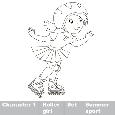one child: One child girl roller skating in a helmet and dress. Page to be color. Summer outdoor games for children. Kids summer sport. Illustration