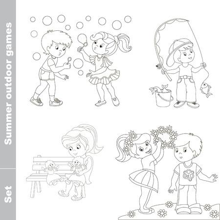 cartoon work: Summer outdoor hobby games for children. Little baby girl wears boy friend garland of flowers. Two children walk in the forest.