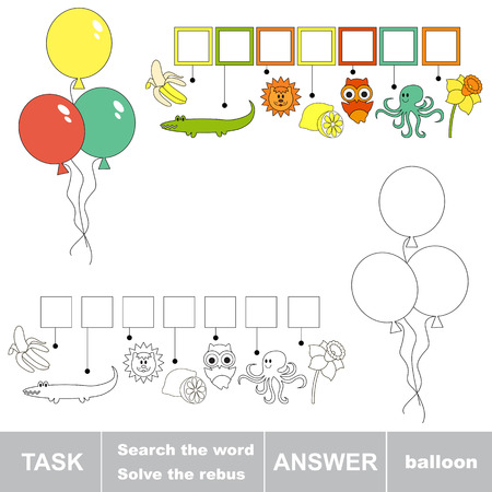 word balloon: Rebus kid game. Search the word BALLOON. Find hidden word. Task and answer. Game for children.