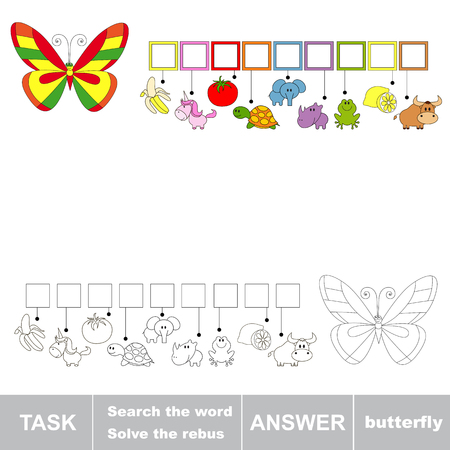 seeking an answer: Rebus kid game. Search the word BUTTERFLY. Find hidden word. Task and answer. Game for children.