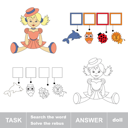 hide and seek: Search the word doll. Find hidden word. Task and answer. Game for children. Rebus kid riddle game.