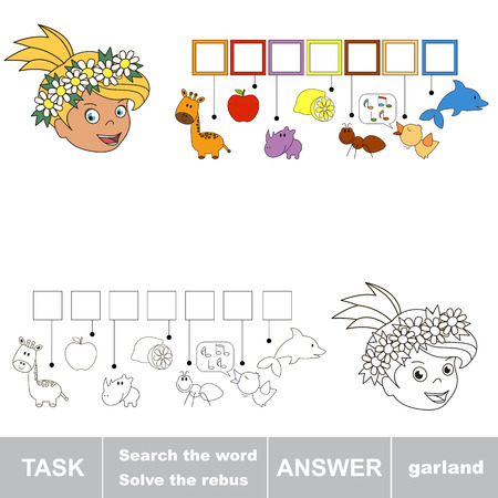 hide and seek: Rebus kid game. Search the word. Find hidden word GARLAND. Task and answer. Game for children. Illustration