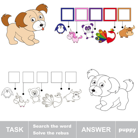hide and seek: Search the word PUPPY. Find hidden word. Task and answer. Game for children. Rebus kid riddle game.