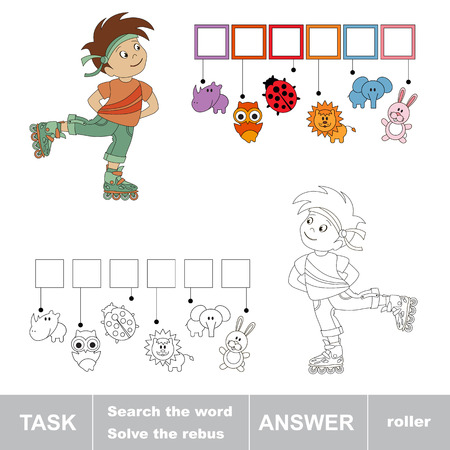 hide and seek: Search the word ROLLER. Find hidden word. Rebus kid riddle game. Task and answer. Game for children.