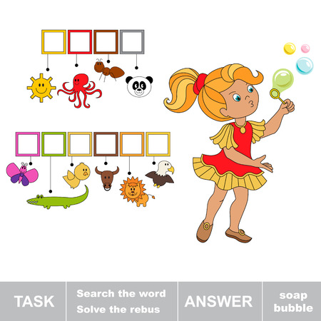 hide and seek: Search the words SOAP BUBBLE. Find hidden word. Rebus kid riddle game. Task and answer. Game for children.