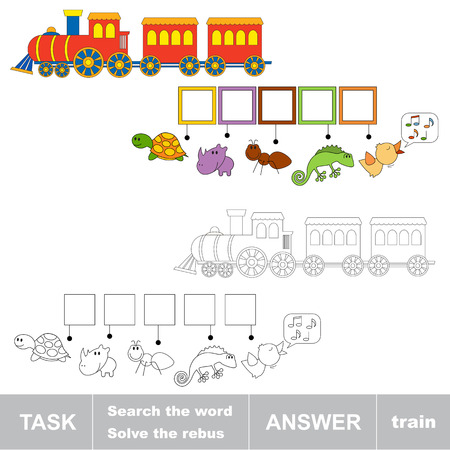 toy train: Search the word TRAIN. Find hidden word. Task and answer. Game for children. Rebus kid riddle game. Illustration
