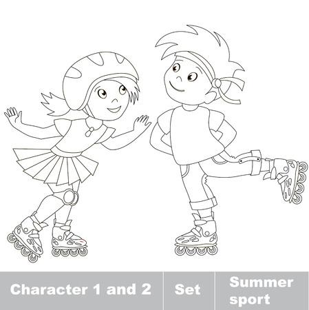 ni�o en patines: P�gina a ser color. Dos peque�os ni�o y ni�a de patinaje sobre patines. Verano juegos al aire libre para los ni�os. Ni�os deporte verano.