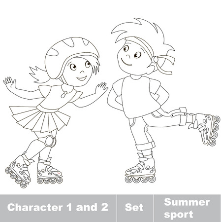 summer sport: Page to be color. Two small baby boy and girl skating on roller skates. Summer outdoor games for children. Kids summer sport.
