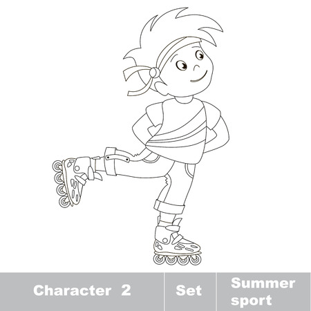 young one: Page to be color. One young baby boy roller skating. Summer outdoor games for children. Kids summer sport.