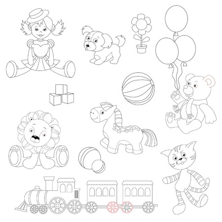 tabby cat: Toy set to be colored. Doll in dress and hat, little puppy toy, flower pot, balloons, dice, bouncy ball, toy bear wearing scarf, lion cub plush, horse toy, train locomotive, gray tabby cat toy.