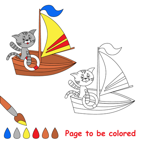 waggon: Page to be colored. Toy cat on boat. Coloring book for kids. Illustration