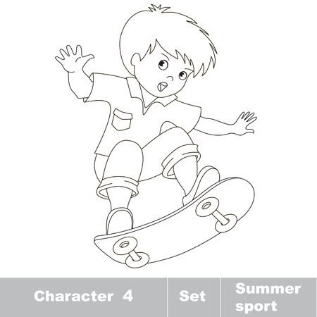 boy skater: Page to be color. Skateboarding. One baby boy skater on skate. Summer outdoor games for children. Kids summer sport. Illustration
