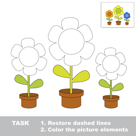 hide and seek: Restore dashed line. Color picture FLOWER by sample. Color elements and fragments by sample. Excerpt to be colored. Illustration