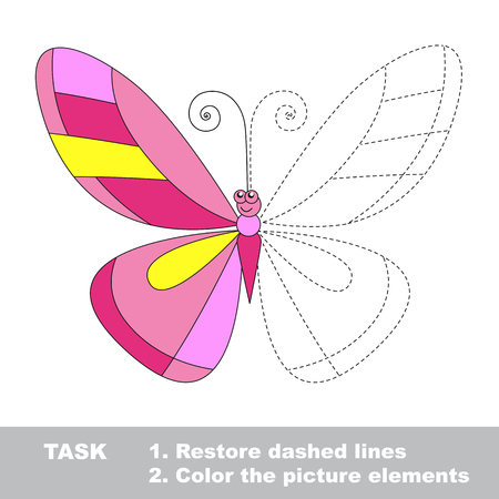 color page: Color the butterfly wing. Restore dashed lines. Color the picture elements. Page to be color fragments.