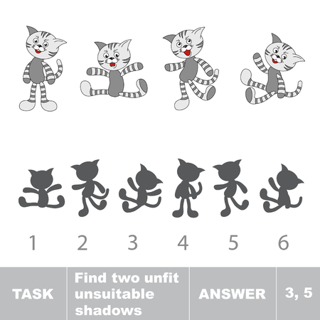 unfit: Tabby cat. Compare objects and their shadows. Find 2 unfit shadows. Task and answer. Suitable shadows connect with objects. Illustration
